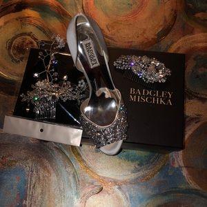 Beautiful white heels & head piece